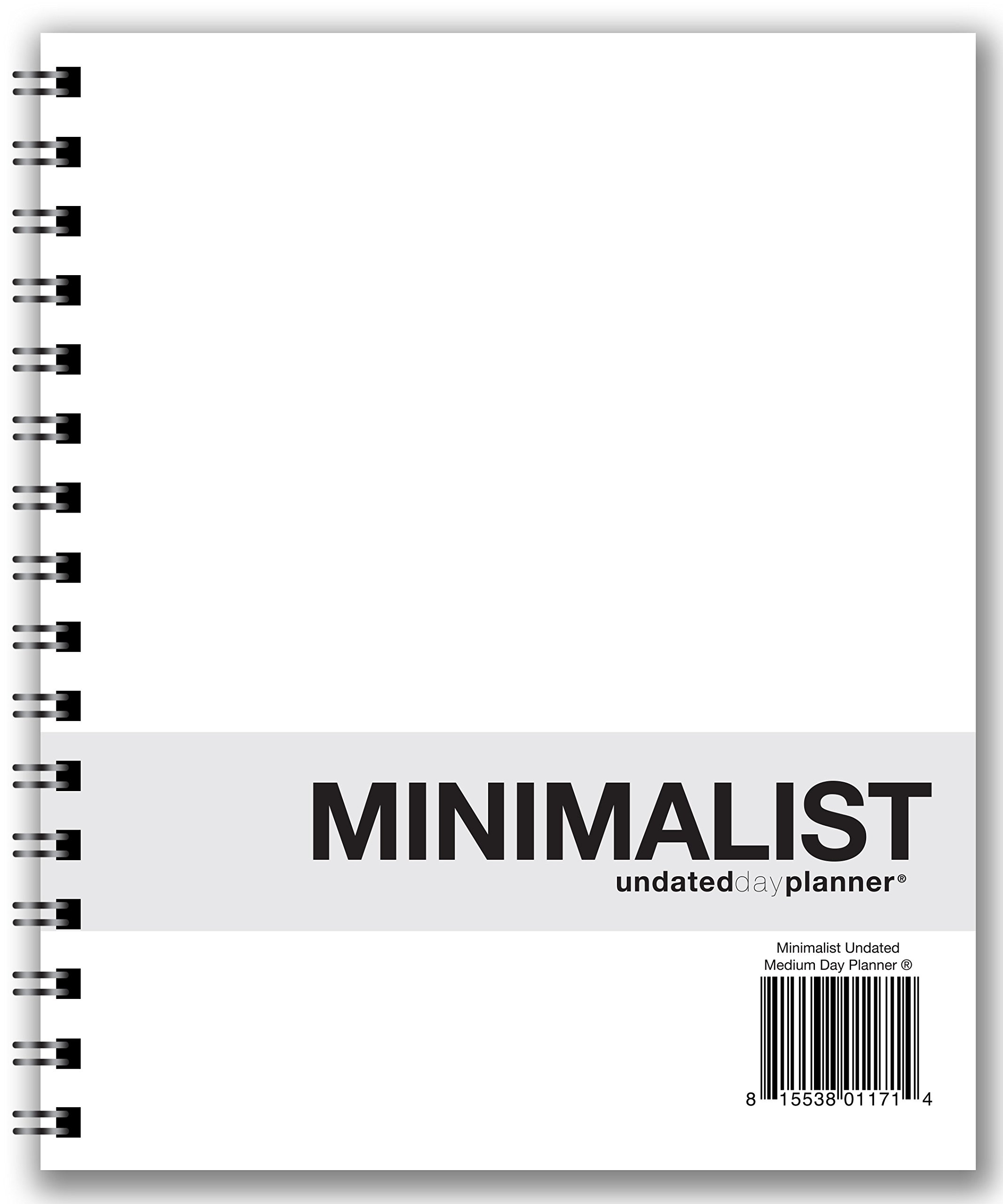 Action Publishing UNDATED Minimalist Day Planner® (7'' X 8.5''), Wire Bound, Crisp White Archival Quality Paper