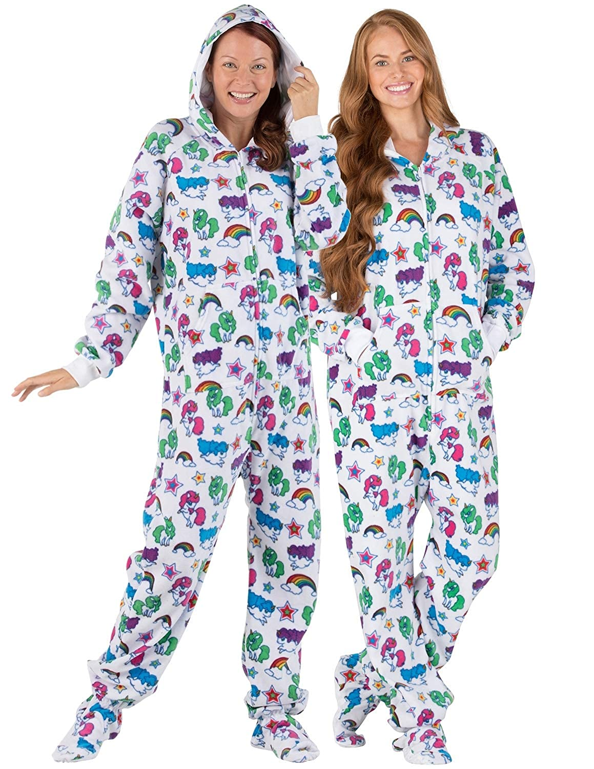 f0117f3d1a Amazon.com  Footed Pajamas - Rainbows N  Unicorns Adult Hoodie Fleece  Onesie  Clothing