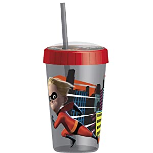 Zak Designs 16.5oz Incredibles 2 Tumbler With Embossed Lid And Durable Straw - Artwork In Domed Lid Makes Characters Pop Out; Splash-proof And Dishwasher Safe, Incredibles 2 Dash-Violet E
