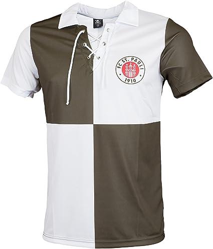 FC St. Pauli Retro Camiseta 91/92, marrón/Blanco: Amazon.es ...