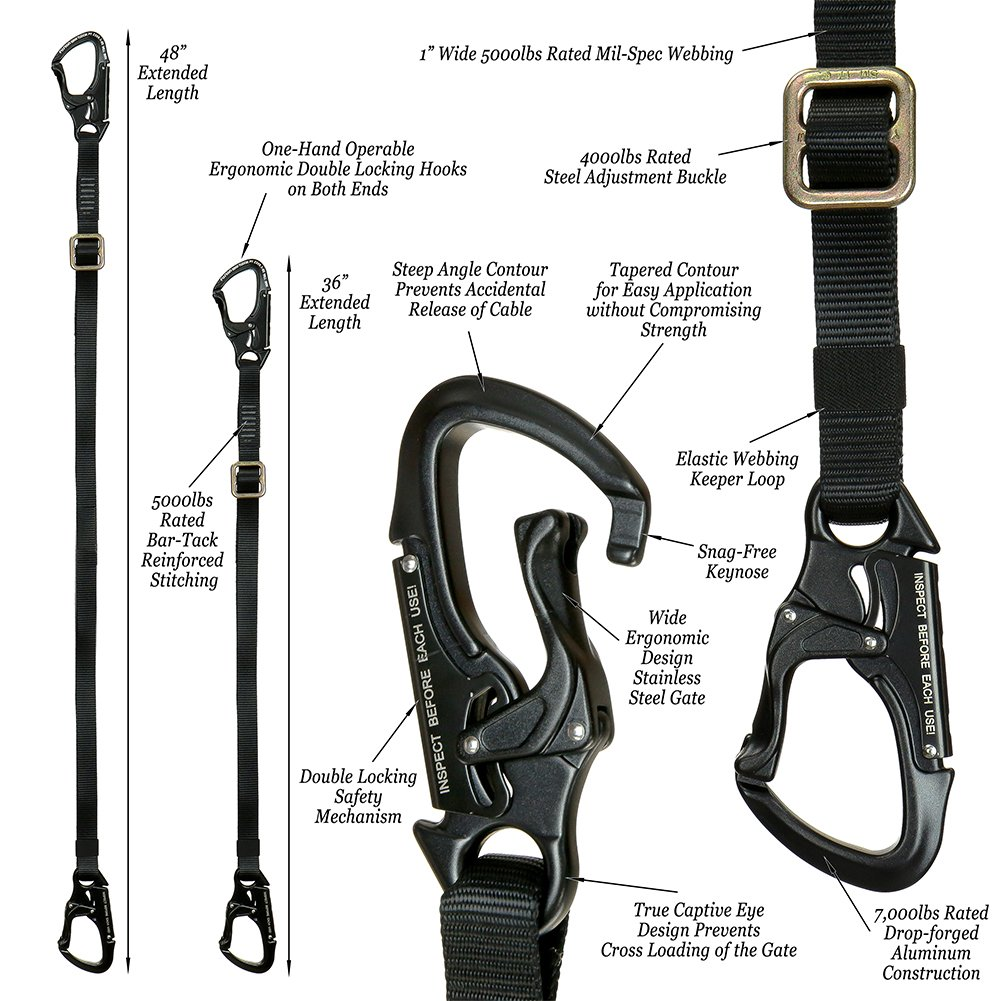 Fusion Climb Tactical Edition Adults Commercial Zip Line Kit Harness//Dual Lanyard Bundle FTK-A-HLL-01 Black