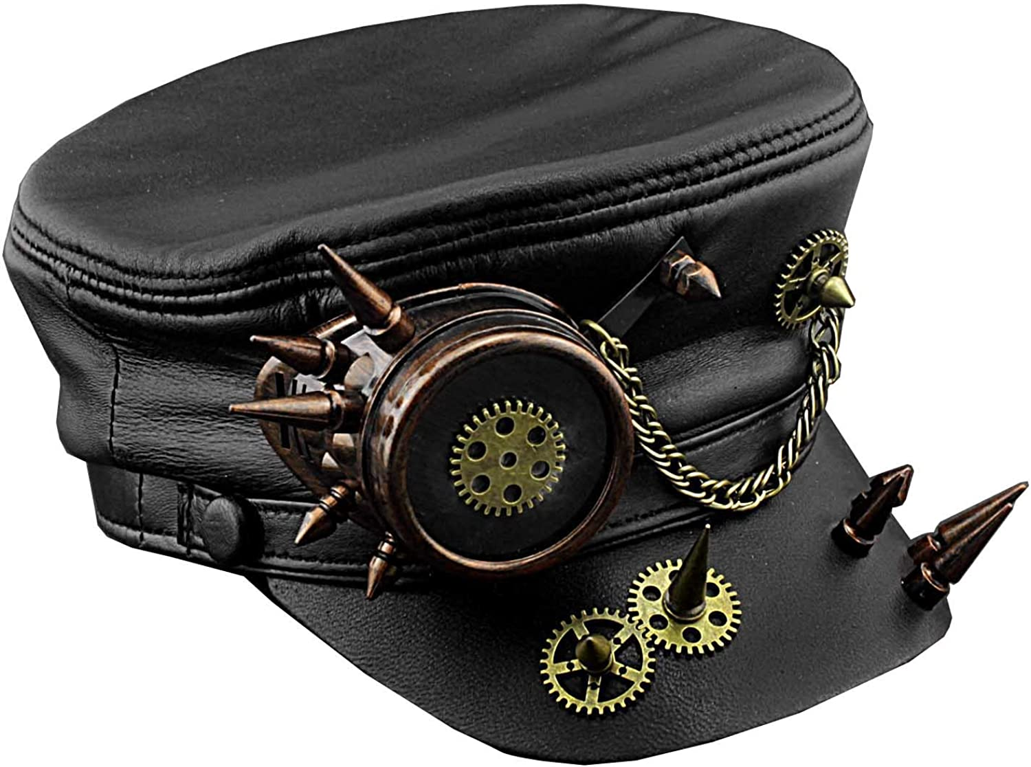 Men/'s Steampunk Gear Goggle Black Hat Vintage Real Leather Cap
