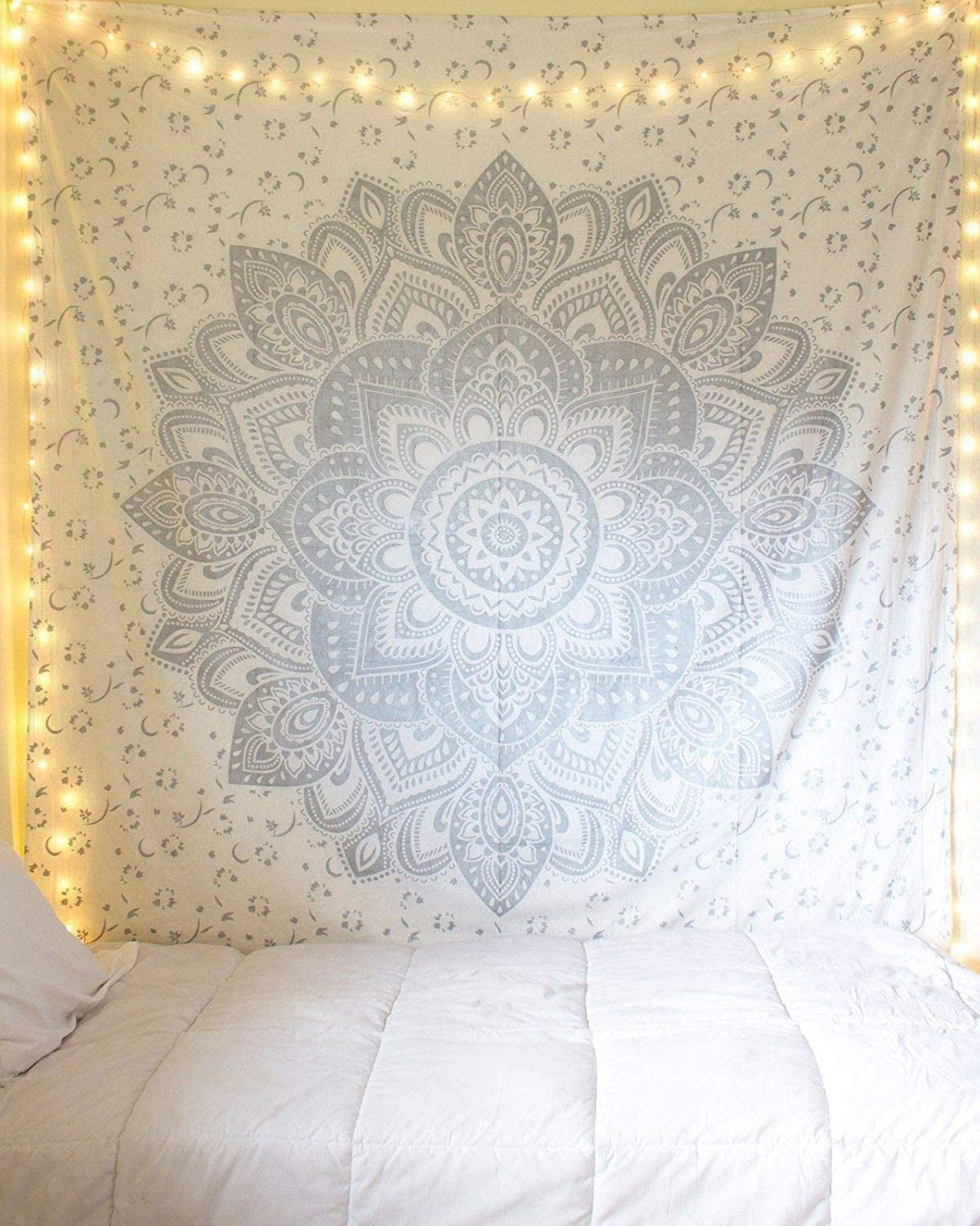 Silver Tapestry Wall Hanging Hippie Mandala Tapestry College Dorm Tapestry Mandala Tapestry Dorm Decor Indian Hippie Tapestry Bedspread Bedding Decor (Twin ( 54X85 inches approx), silver Flower)