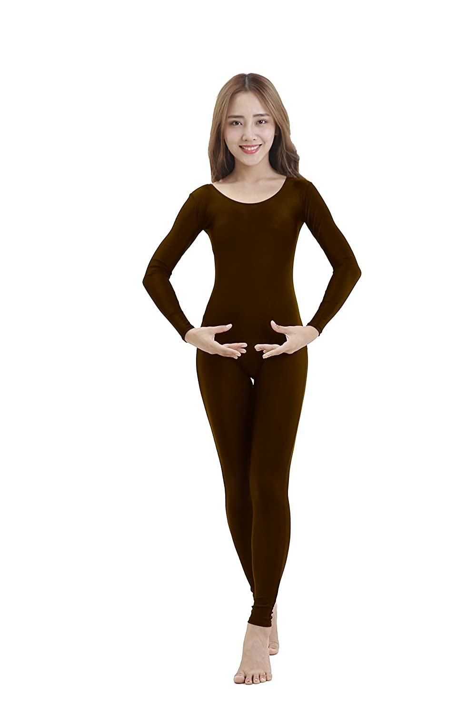 Felicirisa Womens Scoop Neck Long Sleeve Lycra Unitard Bodysuit Jumpsuit