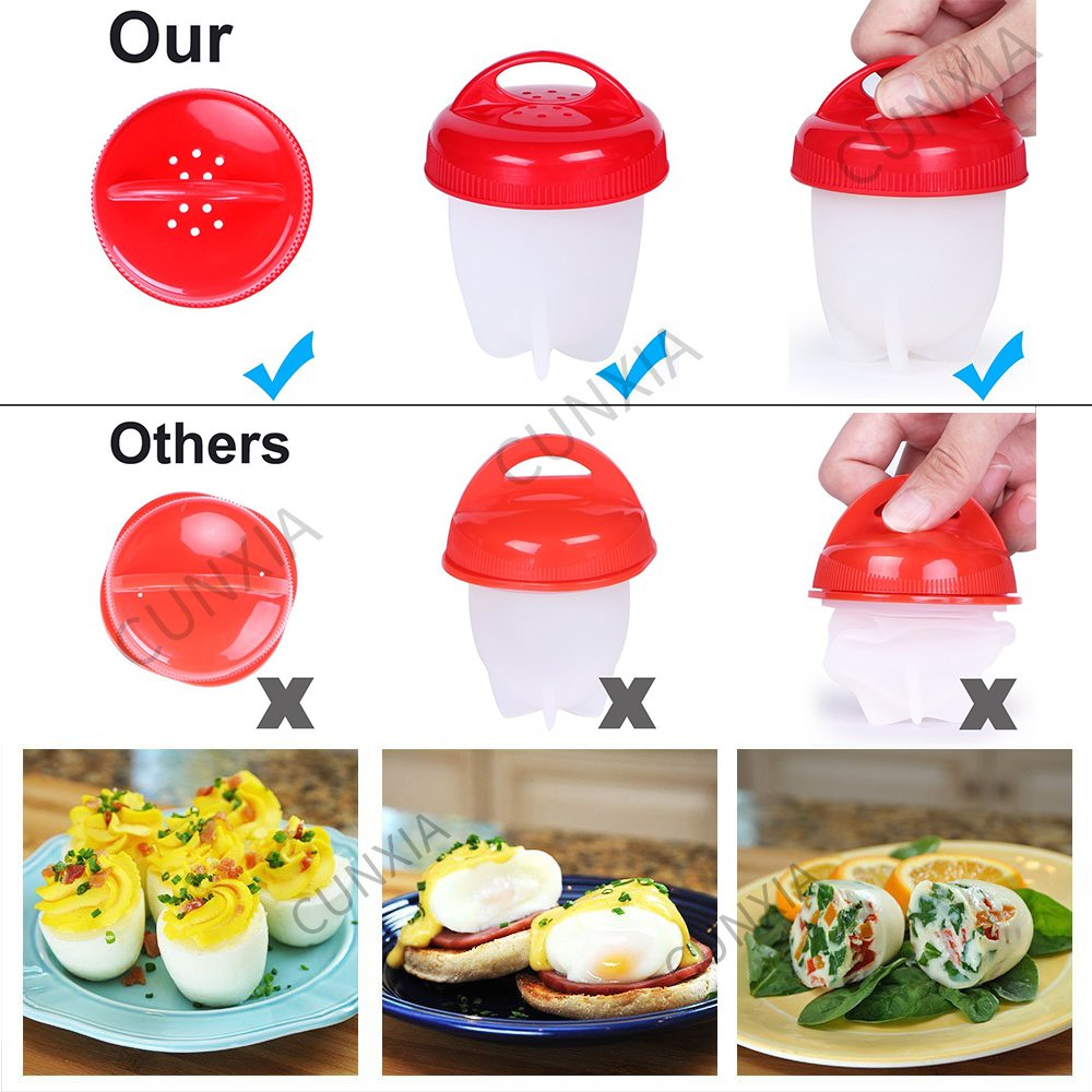 Pocheuse /à /œufs double micro-ondes Egg cuisini/ère 2 trous Egg Cooker de qualit/é double Egg bol bouillie Cook poach Pod de cuisine cuisson Tasse Coque en silicone sans BPA anti-adh/ésif Tasses Orange