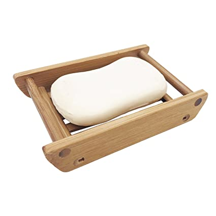 KOOTIPS Modern Bamboo Bathroom Soap Dish / Kitchen & Bath Soap Saver Tray  Four Different Model Can Select (Boat cross bar)