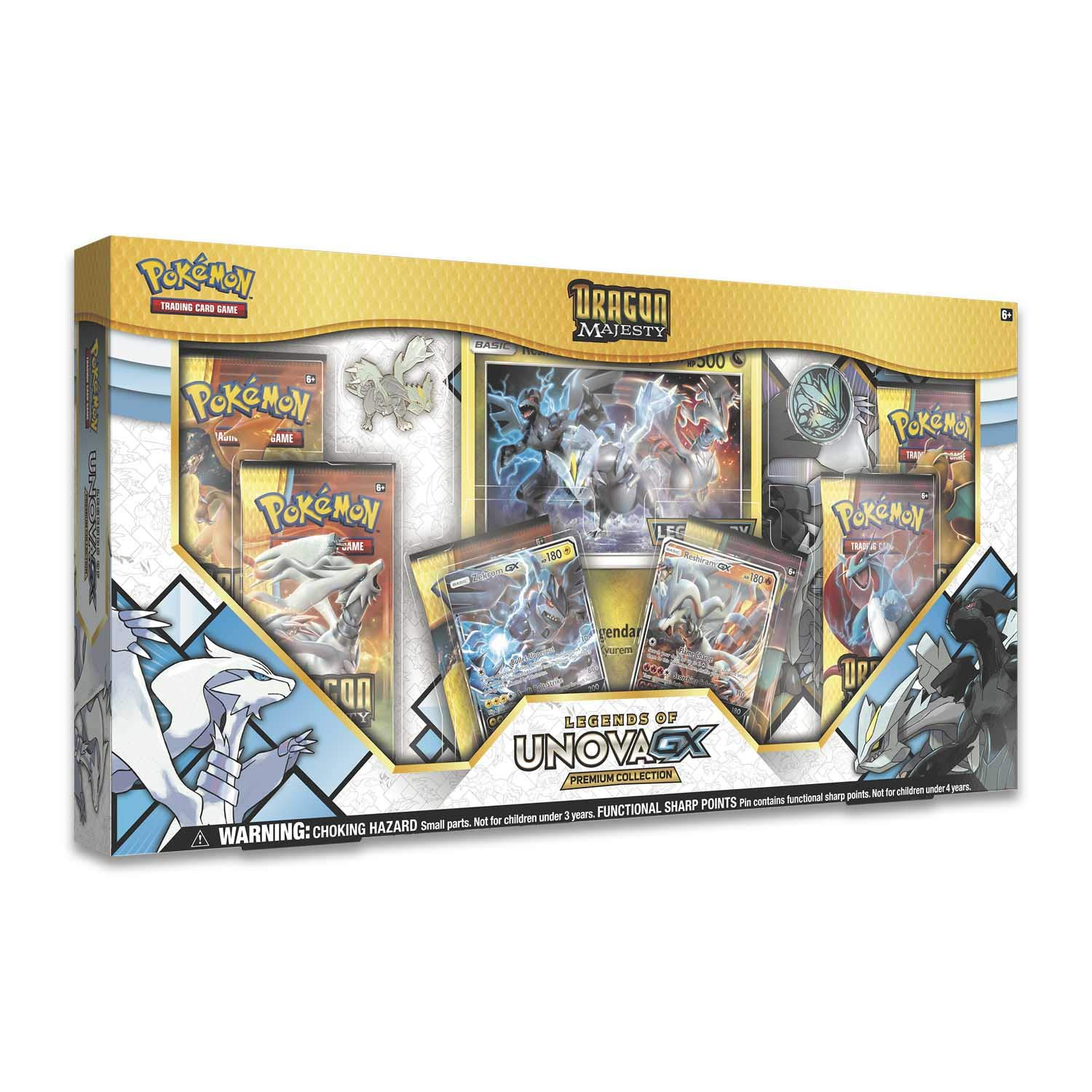 Pokemon TCG: Dragon Majesty Legends of Unova GX Premium Collection - 6 Booster Pack with A Foil Promo Card of Zekrom - Reshiram by Pokemon