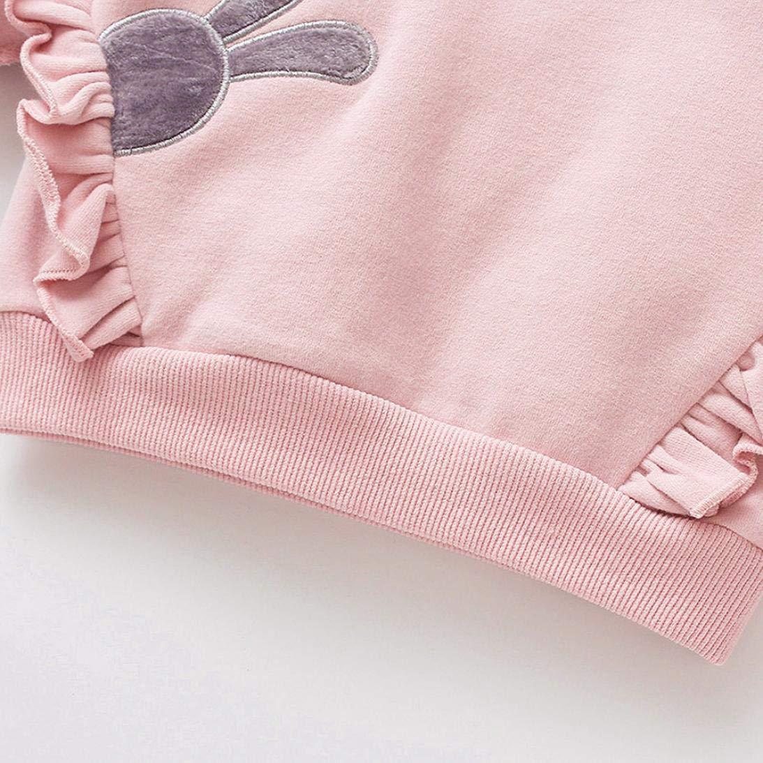KaiCran Toddler Baby Girls Tops Long Sleeve Cartoon Radish Sweatshirt Outfits Rabbit Print 0-24 Months