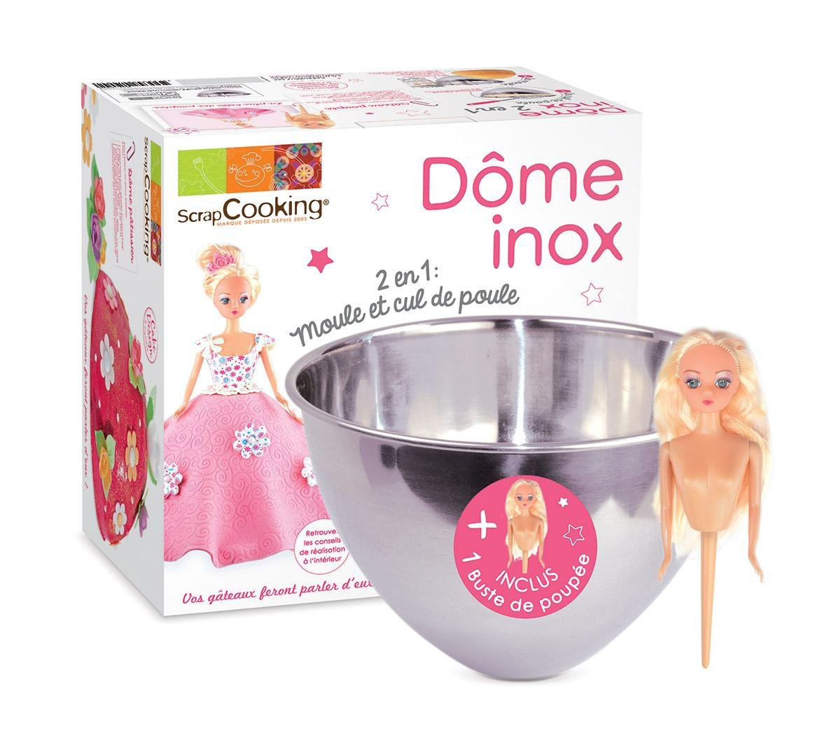 ScrapCooking Stainless Steel Mixing Bowl with Doll Pick, Silver