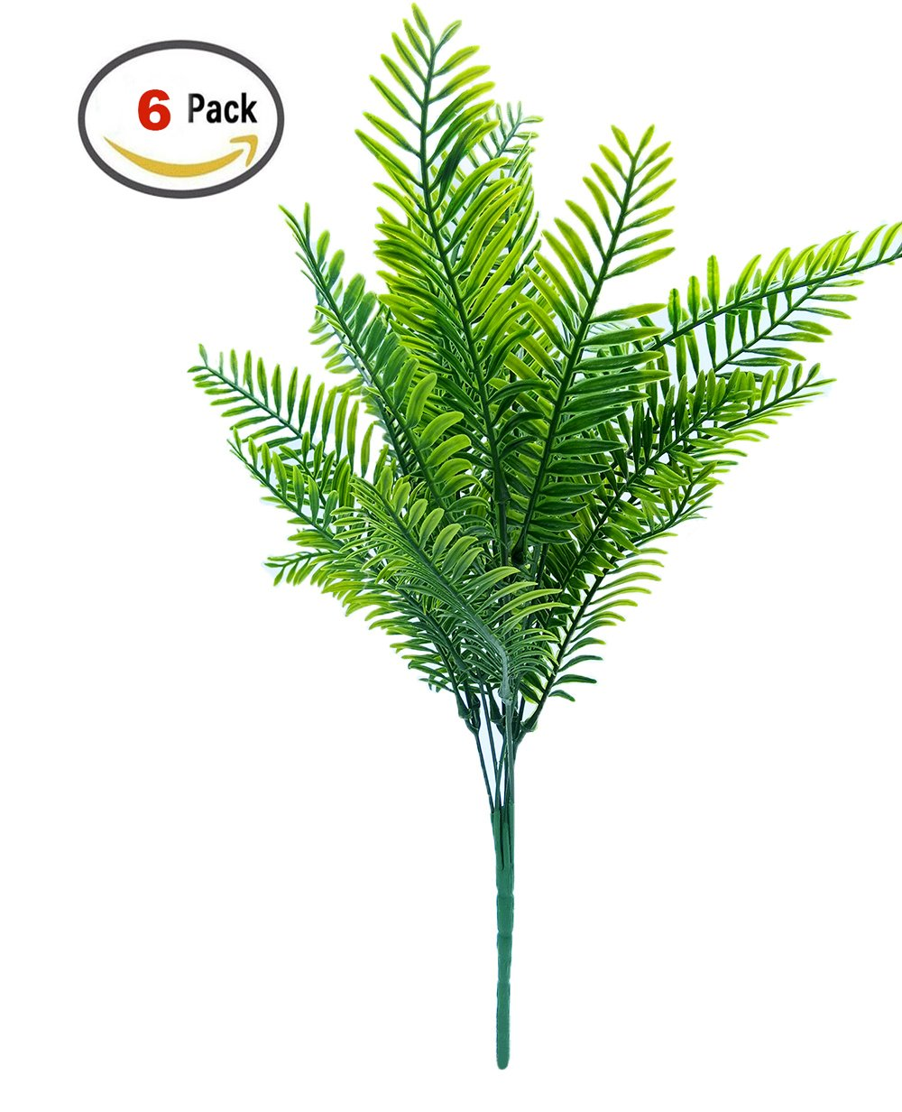 Artificial Shrubs / SFTlite 6 Bundles Boston Fern Artificial Plants - Fake Plastic Shrubs Leaves Simulation Greenery Bushes Floral Arrangement Bouquet Filler - Ideal for Indoor Outside Home Garden Office Table Verandah Decoration Party Wedding Showing