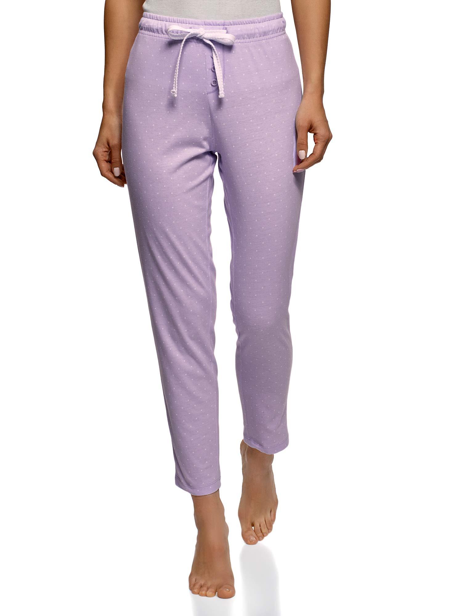 oodji Ultra Mujer Pantalones de Estar por Casa Estampados con Cordones 6f4032ffc49