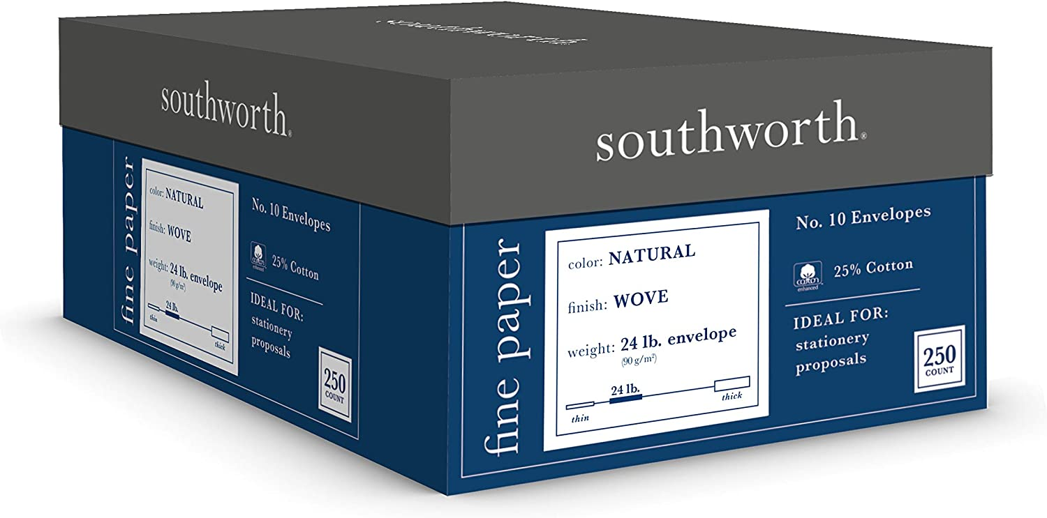 "Southworth 25% Cotton Business #10 Envelopes, 4.125"" x 9.5"", 24 lb/89 GSM, Wove Finish, Natural (Ivory), 250 Count - Packaging May Vary (J404N-10)"