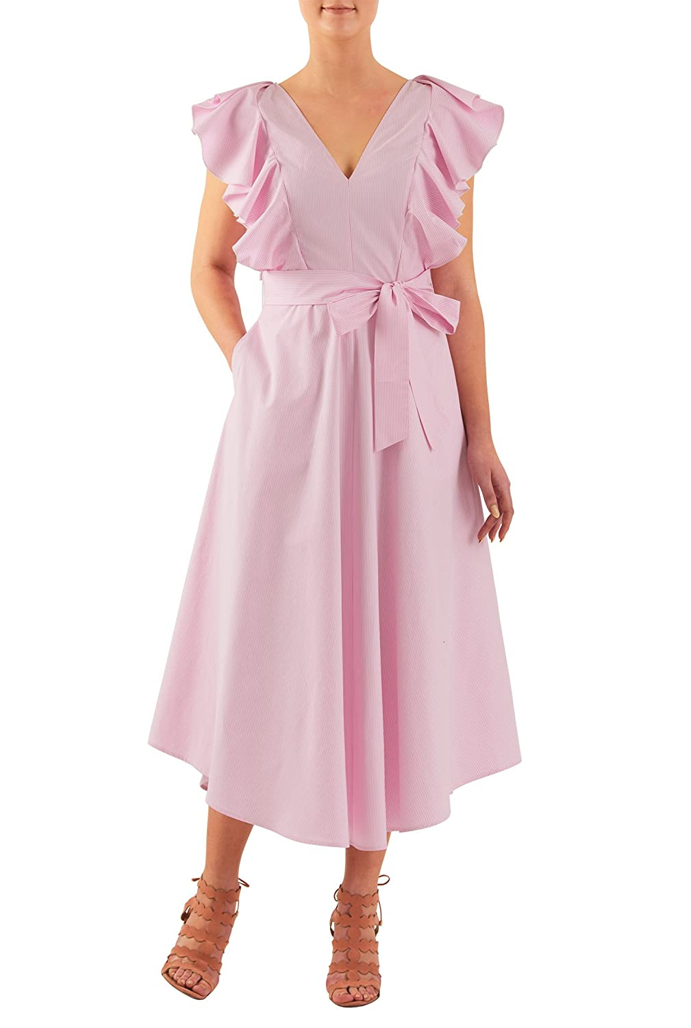 1940s Day Dresses eShakti Womens Ruffle seersucker stripe midi dress $52.95 AT vintagedancer.com