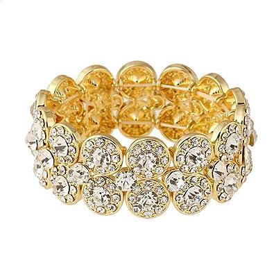 Amazon Com Tanfutament Women S Stretch Bracelets Bride Rhinestone