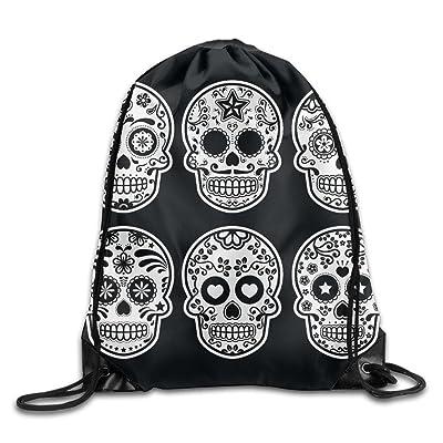 lovely Sugar Skull Ct Drawstring Bag, Drawstring Backpack, Sport Bag, Gymsack, Sackpack, Shoulder Bags For Men Women Teenager Juvenile Adolescent, Size: 17 Inch X 14 Inch