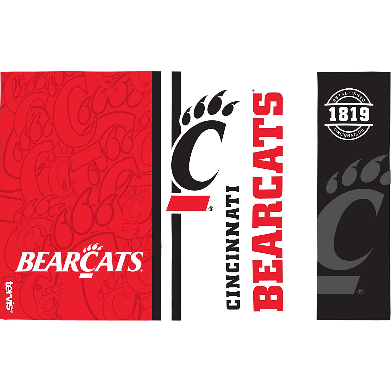 Tervis 1219940 Cincinnati Bearcats College Pride Tumbler with Wrap and Red Lid 16oz Clear