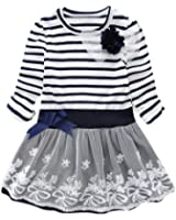 LittleSpring Little Girls' Dress Striped Flower Long Sleeve