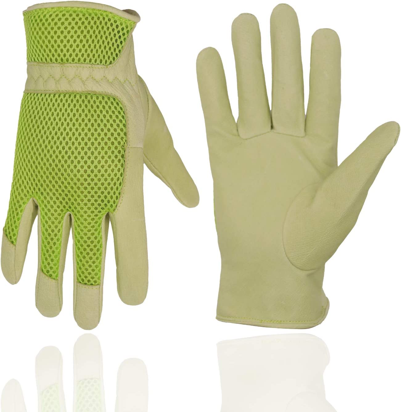 Pigskin Leather women Gardening Gloves,Stretchable Tough Working Glove,3D Mesh Comfort Fit,Comfort and Breathable Design for rose garden (Small, Green)