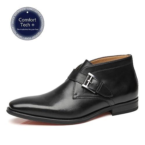 La Milano Mens Winter Ankle Dress Boots Slip on Monk Strap Buckle  Comfortable Chukka Plain Toe c96b23ffca