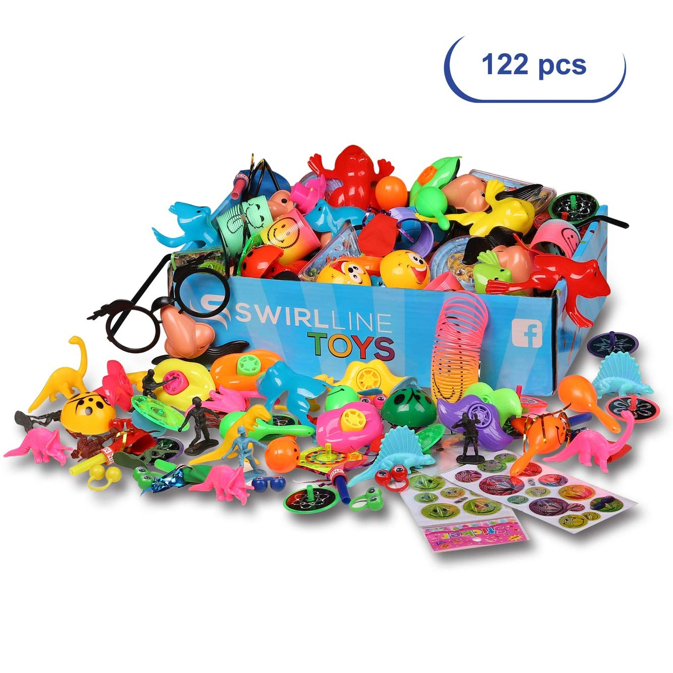 Party Favors Kids - Carnival Prizes Toys Bulk - Pinata Filler Toy Assortment - Boys Girls Birthday Halloween Box - Classroom Treasure Chest - Games Pack (122 Pack Multicolor) by S SWIRLLINE