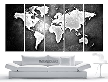 Amazon large wall art canvas world map modern embossed white large wall art canvas world map modern embossed white and gray world map on metalic gumiabroncs Gallery