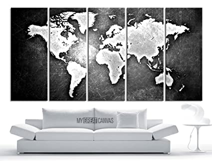 Amazon large wall art canvas world map modern embossed white large wall art canvas world map modern embossed white and gray world map on metalic gumiabroncs Gallery