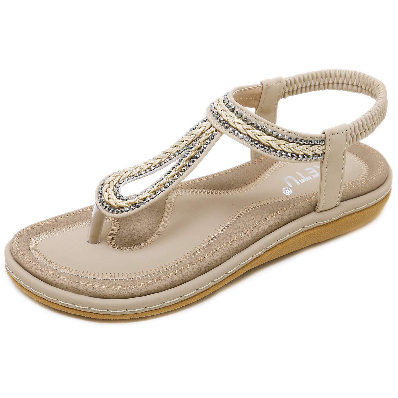 DolphinBanana Girl's Bohemian Simple T-Strap Summer Flat Thong Sandals, Beige Flip Flops Glitter Shiny Rhinestone Herringbone Evening Party Shoes Dressy Casual Jeans Back to School Beach Vacation