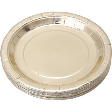 Gold Paper Plates 9 inch Disposable Plates With Gold Foil For Party, Holiday, Lunch, Dinner, Graduation, Wedding(48 Pcs) (Gold, 9 inch)