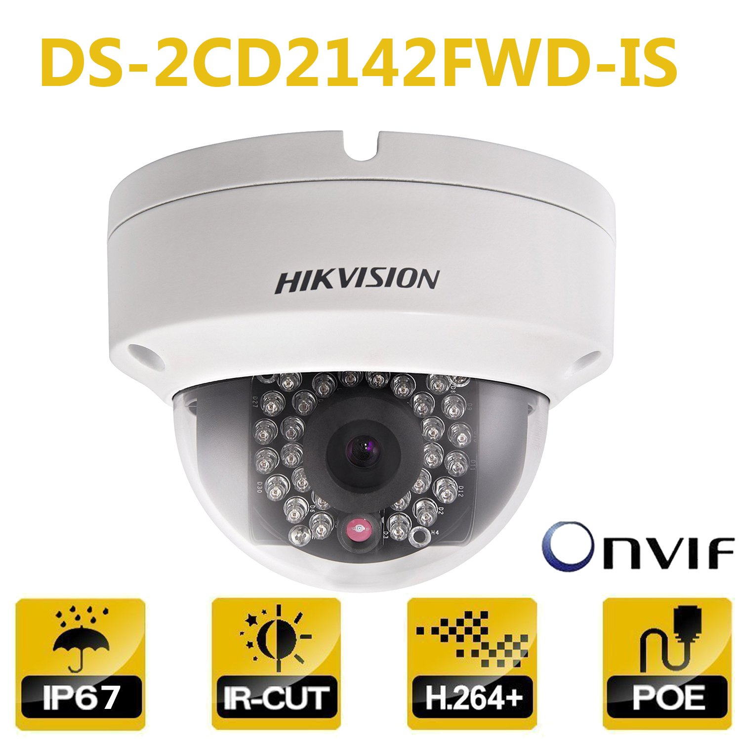 Hikvision Dome IP Camera DS-2CD2142FWD-IS 4MP 2.8Mm Lens PoE Network Security Camera HD 1080P Day/Night IR To 30M Wide Dynamic Range Ip67 IK10 H.264 Onvif English Version