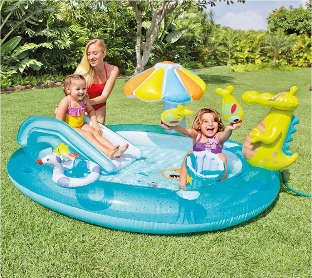 Piscina Inflable Redonda Fuente De Tobogán De Cocodrilo Infantil Marina Bola Juguetes Verano Césped Al Aire Libre Piscinas para Niños Azul (203 × 173 × 89 CM): Amazon.es: Jardín