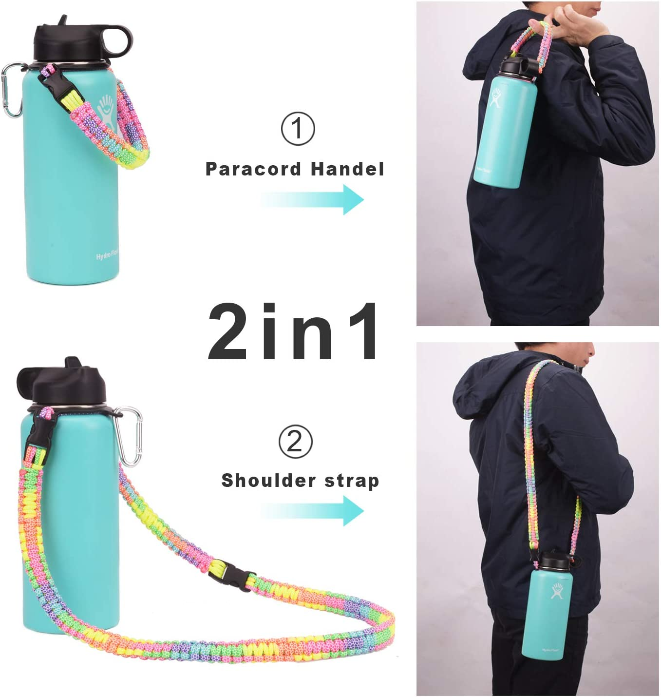 ComoMoi Pracord Handle Carrier Holder with Shoulder Strap for Hydro Flask 12-64 oz Wide Mouth Water Bottles with Carabiner and Safety Ring Suitable for Hiking Walking Camping