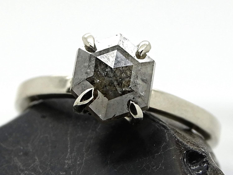 Amazon Com Hexagon Diamond Engagement Ring White Gold Engagement Ring Salt And Pepper Diamond Ring Unique Diamond Ring Modern Diamond Ring Gold Handmade
