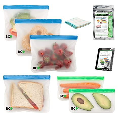 Reusable Snack Bags and Dishcloth Set – 4x Large & 2x Small Food Storage Bags – Ziplock, Leak-Proof, Freezer and Travel Safe Baggies for Sandwiches, ...