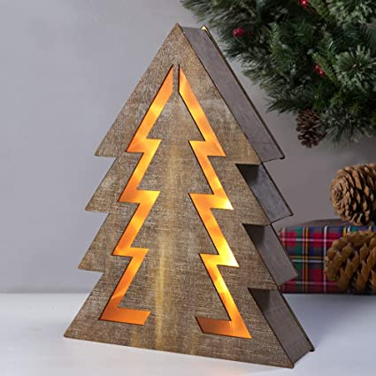 bright zeal christmas tree light sign decorations 14 tall 8hr timer