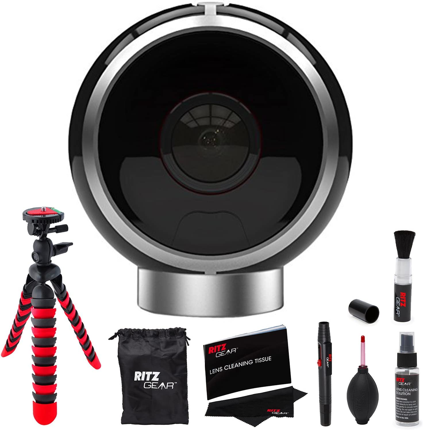 Amazon Com Allie Home 8mp Day Night Ir 360 Dual Lens Spherical Vr Interactive Camera Bluetooth Black Ahb10 Ritz Gear Cleaning Kit 12 Tripod Camera Bundle Camera Photo