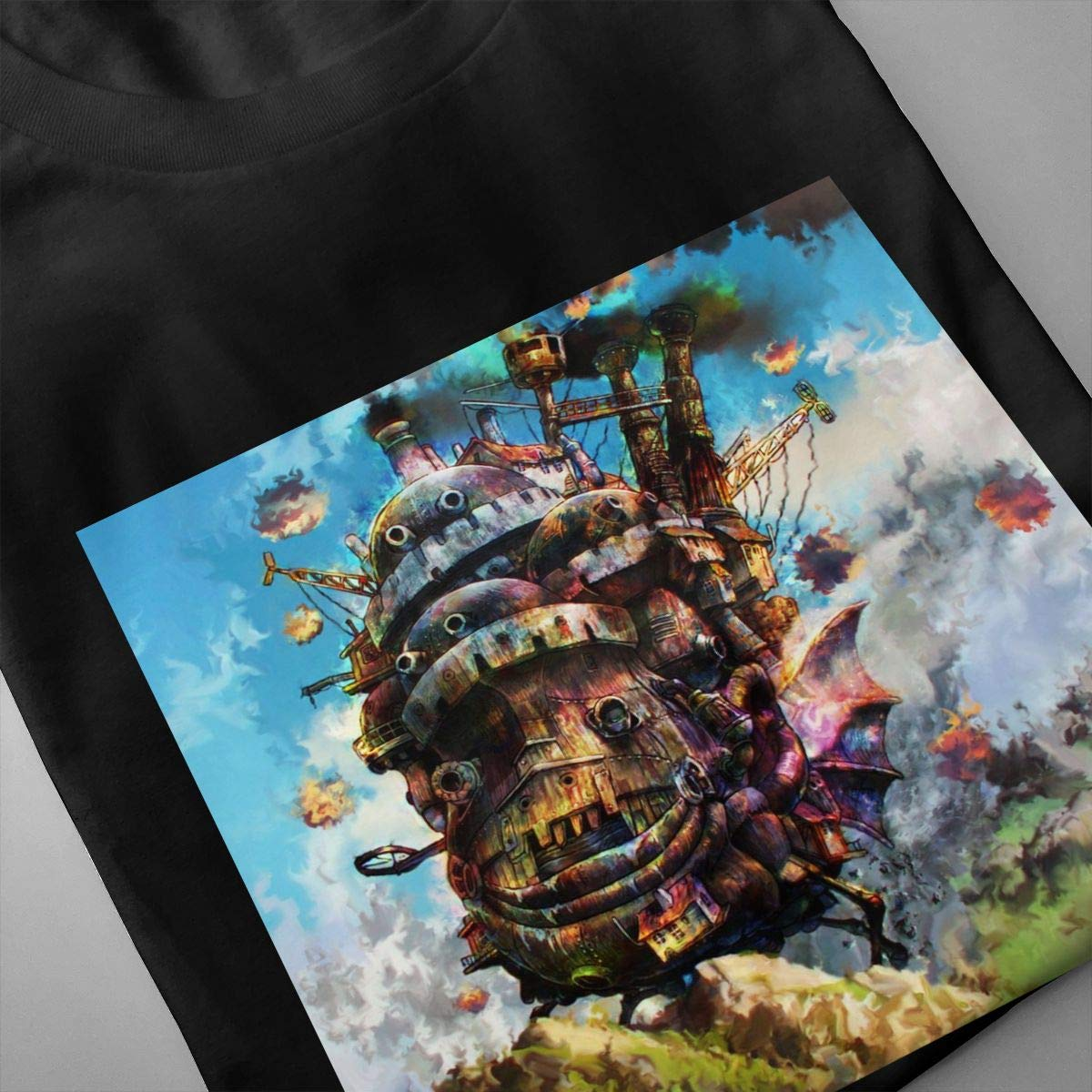 MaMing Moving Castle Mens Fashion 3D Printed Round Neck Short-Sleeved T-Shirt Black