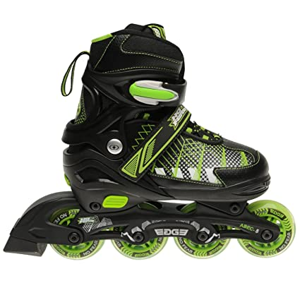 No Fear Patines en línea de 4 ruedas Edge para niños, negro/verde,