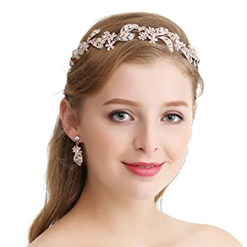 Image Unavailable. Image not available for. Color  SWEETV Rose Gold  Rhinestone Headband ... 73cfc9fae41