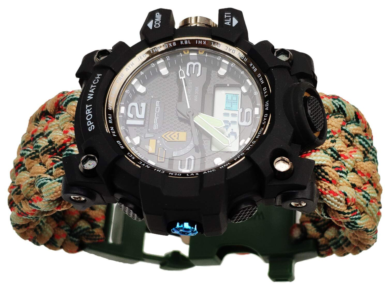 7'' Green Camo Handmade 550 Paracord Bracelet Watch Compass Water Resistant Date&Day Stopwatch Chronograph Alarm LED Backlight