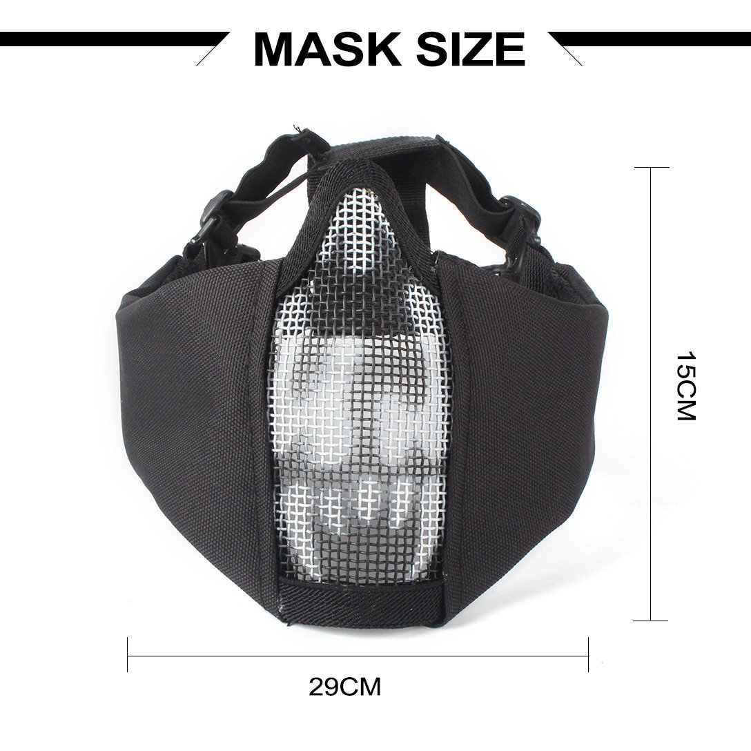 Wwman Juego de m/áscara de malla de acero con protecci/ón para las orejas y  gafas con protecci/ón UV para airsoft paintball CS con correa ajustable