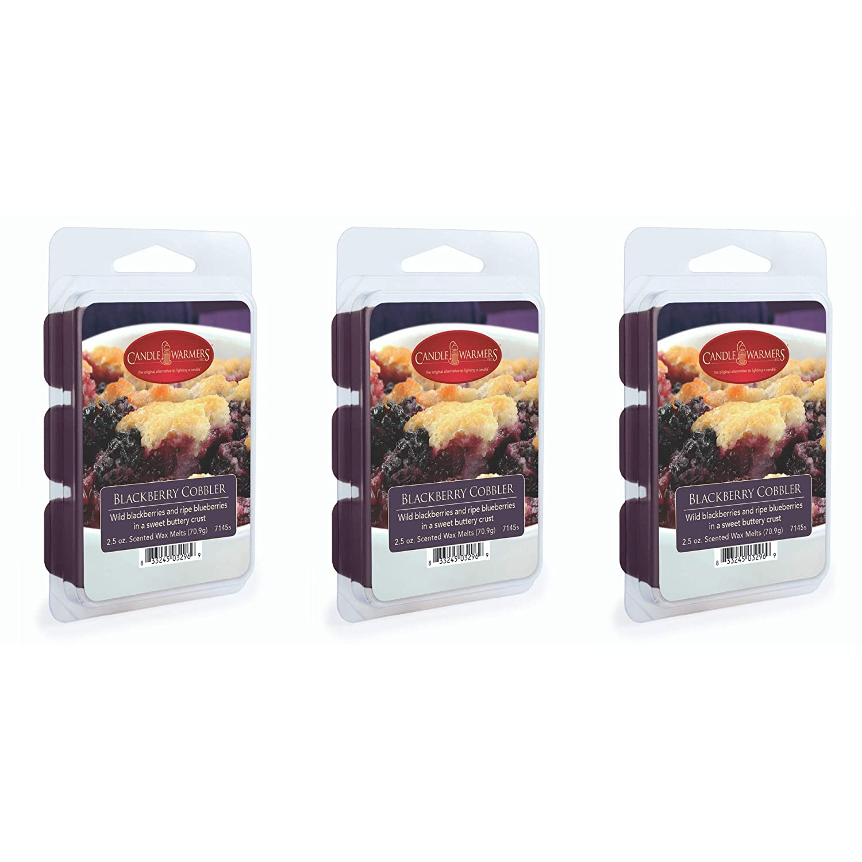 CANDLE WARMERS ETC 3-Pack 2.5 oz Wax Melt Tart Brick, BlackBerry Cobbler