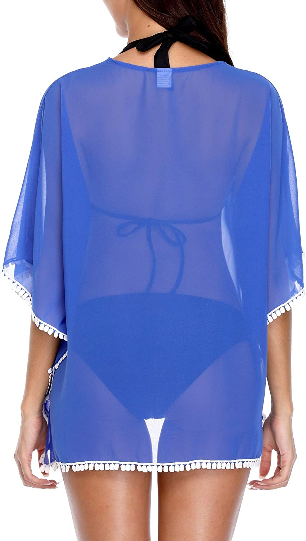 ATTRACO Womens Swimsuit Cover Up Chiffon Tassel Bikini Coverup Tunic Beachwear