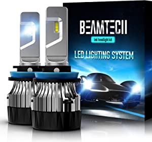 BEAMTECH H11 LED Headlight Bulb,30mm Heatsink Base CSP Chips 10000 Lumens H8 H9 6500K Xenon White Extremely Super Bright Conversion Kit of 2