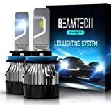 BEAMTECH H11 LED Headlight Bulb,30mm Heatsink Base CSP Chips 10000 Lumens H8 H9 6500K Xenon White Extremely Super Bright…