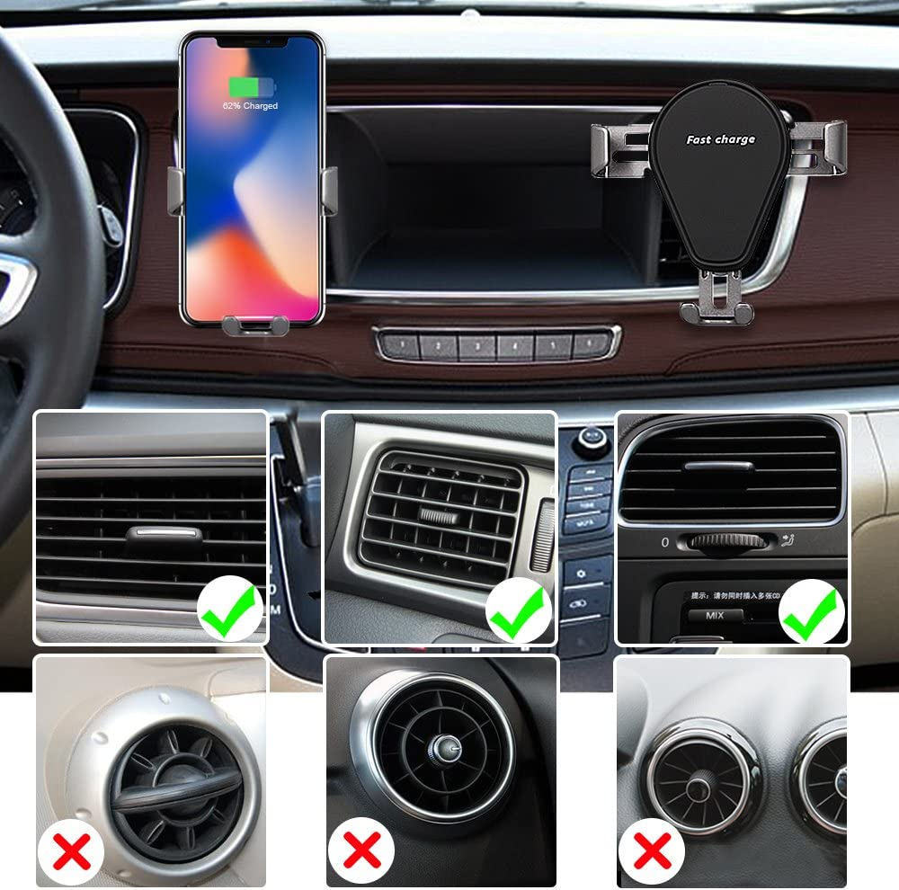 Note 8//5 ZMunited Wireless Car Charger Mount iPhone X//iPhone 8 Plus//iPhone 8 and QI-Enabled Devices Air Vent Phone Holder Gravity Car Fast Charging for Samsung Galaxy S8//S7//S7 Edge