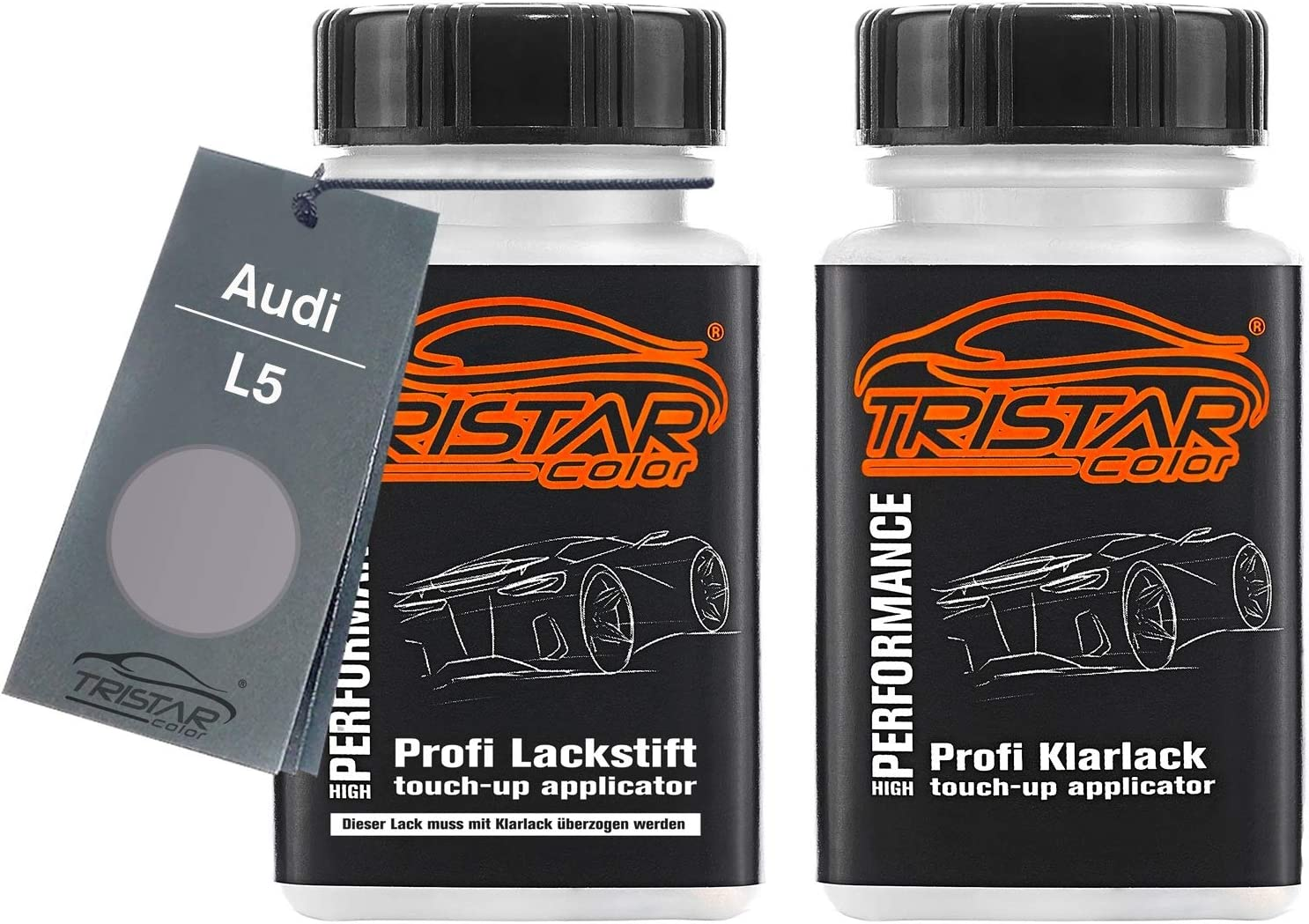 Tristarcolor Autolack Lackstift Set Für Audi L5 Florettsilber Metallic Basislack Klarlack Je 50ml Auto