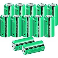 PKCELL Uppladdningsbara platta batterier 1,2 V NiMH 2/3AAA 400 mAh trådlösa telefonbatterier (12 st)