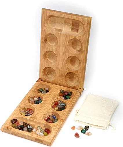 MANCALA  Folding Wooden Game With Glass Beads in Original box