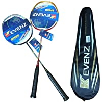 KEVENZ 2 Pack Graphite High-Grade Badminton Racquet, Professional Carbon Fiber Badminton Rackets, 1 Black and 1 Red…