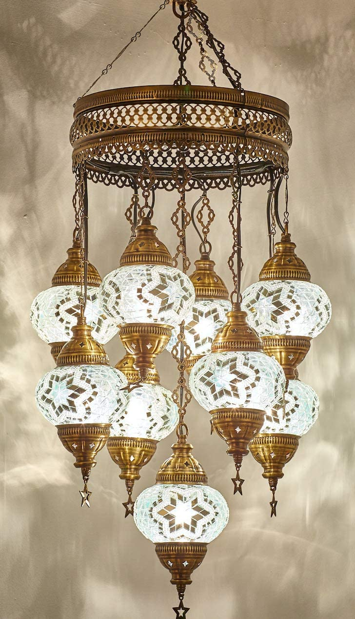 Customizable Globes DEMMEX 2019 Hard-Wired or PLUGIN 1,3,5,7,9 Globes Chandelier Lights Turkish Moroccan Mosaic Ceiling Hanging Pendant Chandelier Light Lighting 9 Globes Hardwired, 41